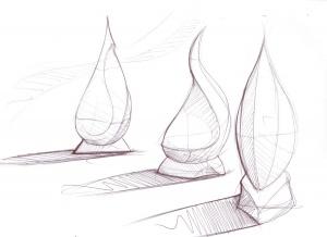 flame contemporary garden sculpture sketch