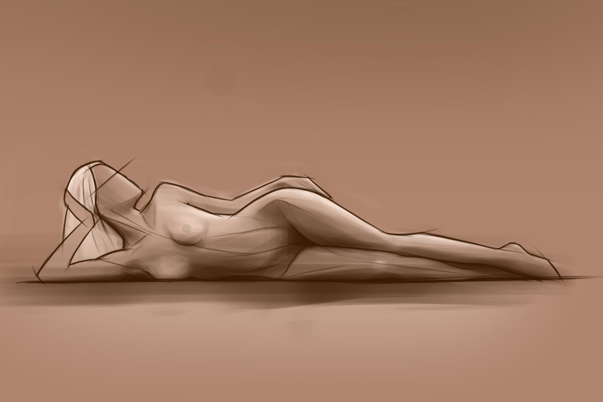 sketch girl on side