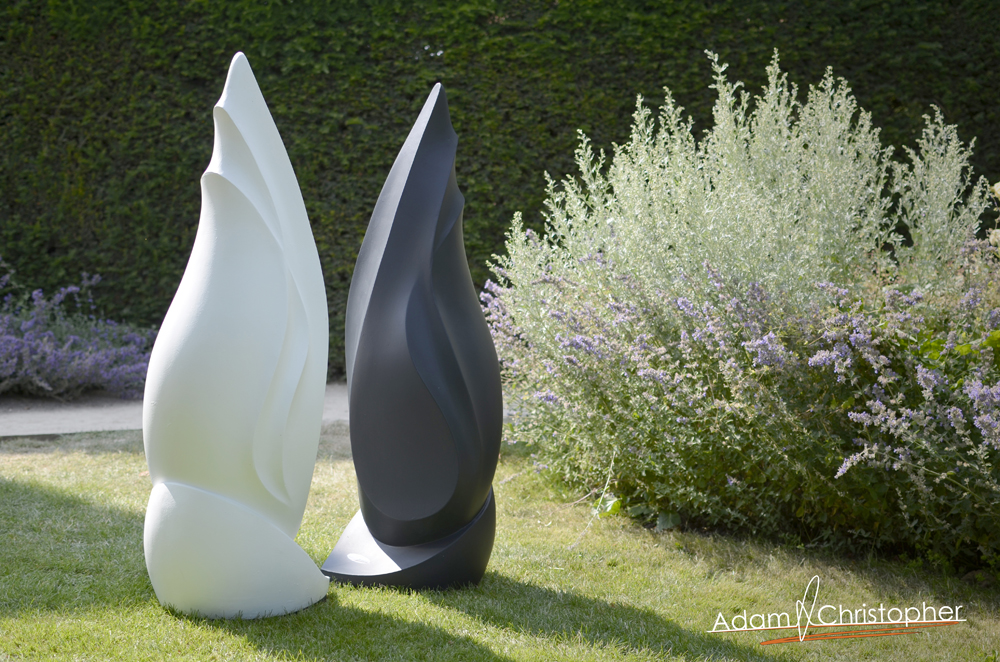 Flame Modern Sculpture black and white yin yang (8)
