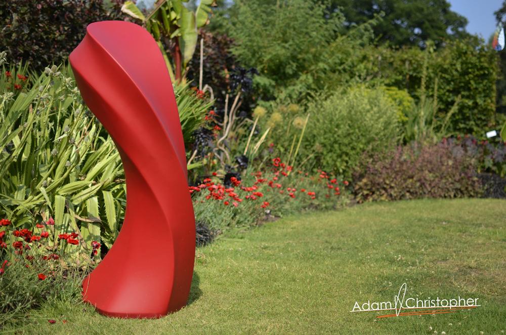 Liquid Silk Garden Sculpture in Red (9)