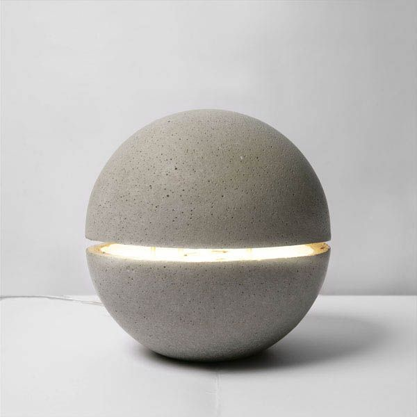 Glowing concrete orb light