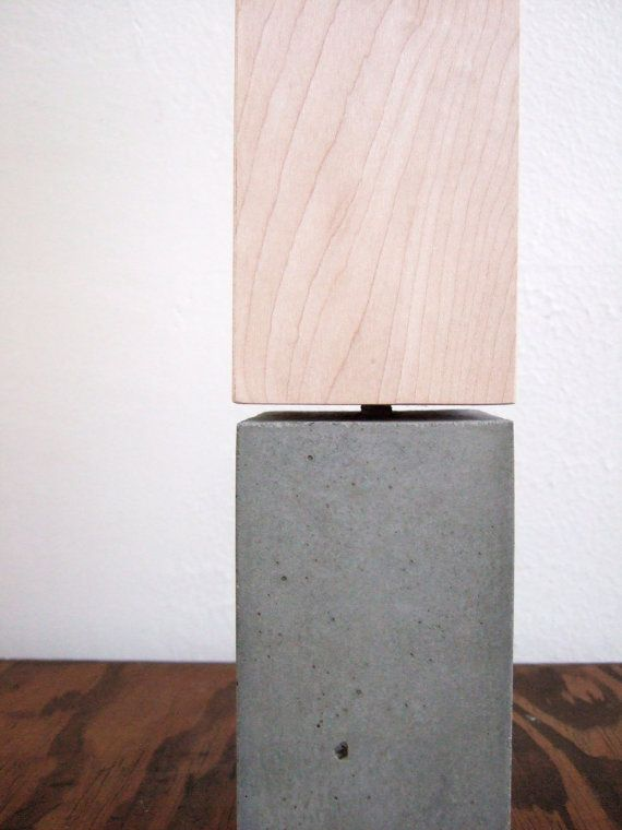 beech and concrete combo lamp
