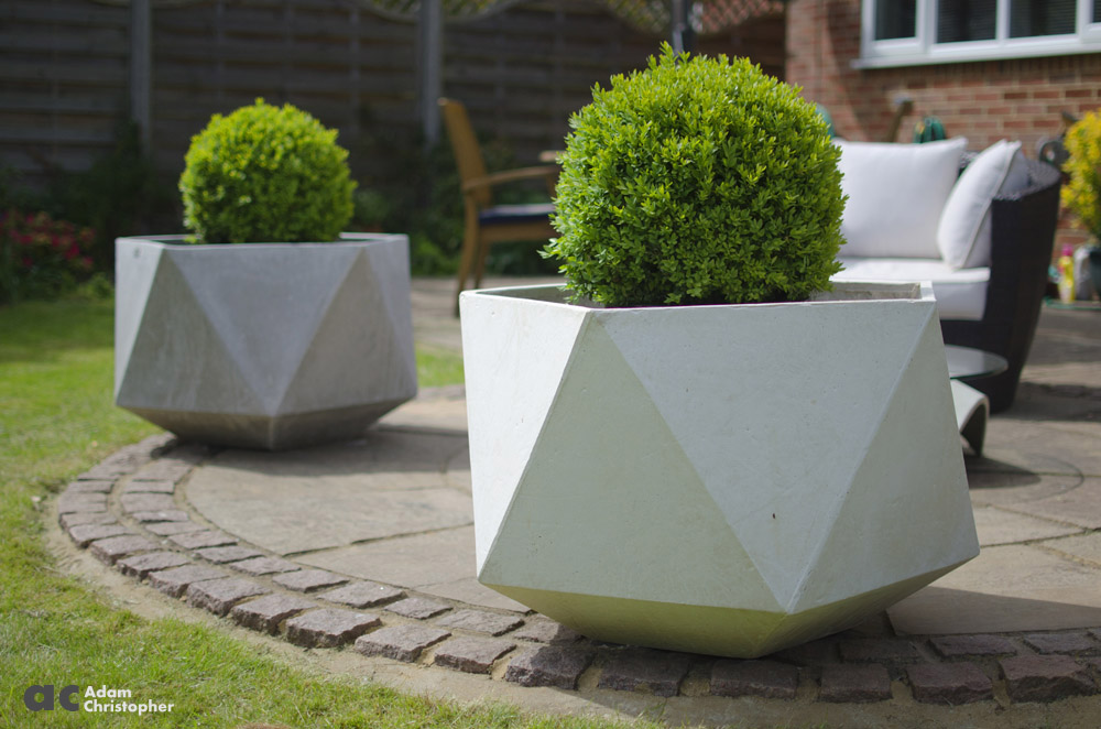 Large geometric garden planter by adam christopher Concrete planters
