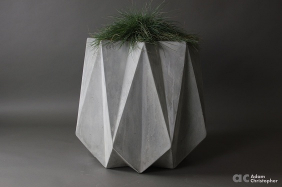 medium height large concrete planter. Modern faceted origami design