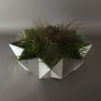 faceted large bowl planter in grey concrete