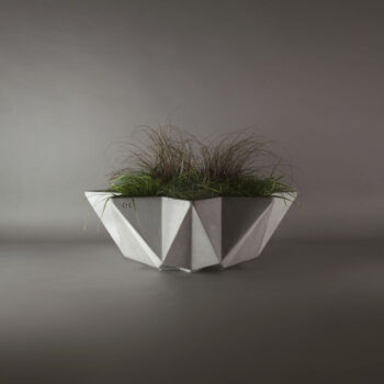 large concrete grey planter bowl