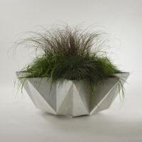 large bowl planter in grey fibre concrete