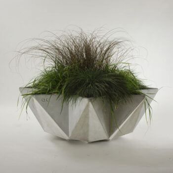 large bowl planter in grey fibre concrete