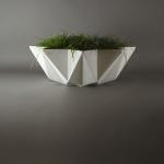 white concrete bowl planter 1 metre wide