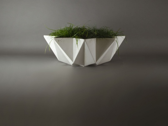 white concrete bowl planter 1 metre wide