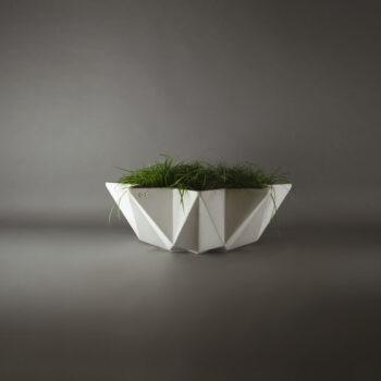 Large white concrete planter