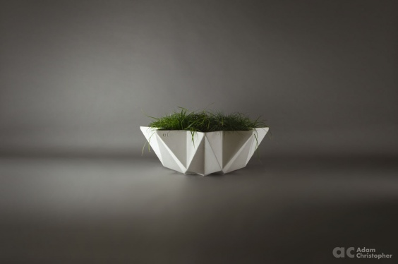 Large white concrete planter