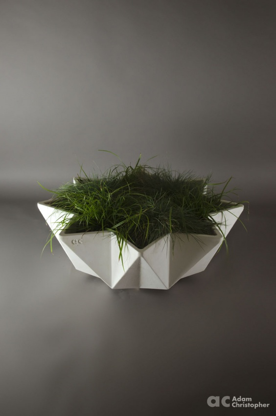 large bowl planter in white fibre concrete