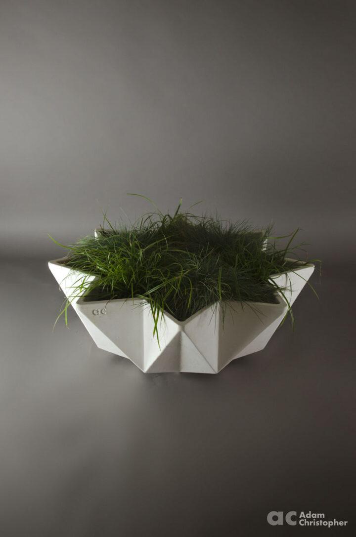 large bowl planter in white fibre concrete