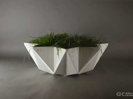 modern bowl planter in wide format 1 metre