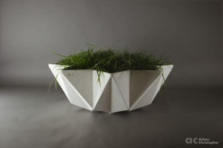modern bowl planter in wide format 1 metre