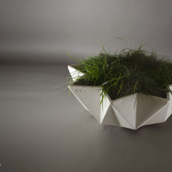 1 metre bowl planter in white concrete