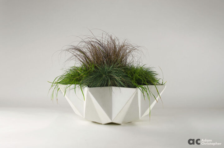 white concrete bowl planter