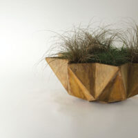 rusted bowl planter 1 metre wide