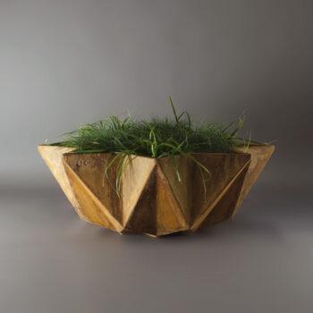large low bowl planter in corten steel effect. 1 metre Fibre concrete bowl planter with rust etch applied