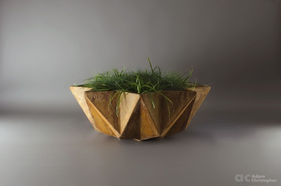 large low bowl planter in corten steel effect. 1 metre Fibre concrete bowl planter with rust etch applied
