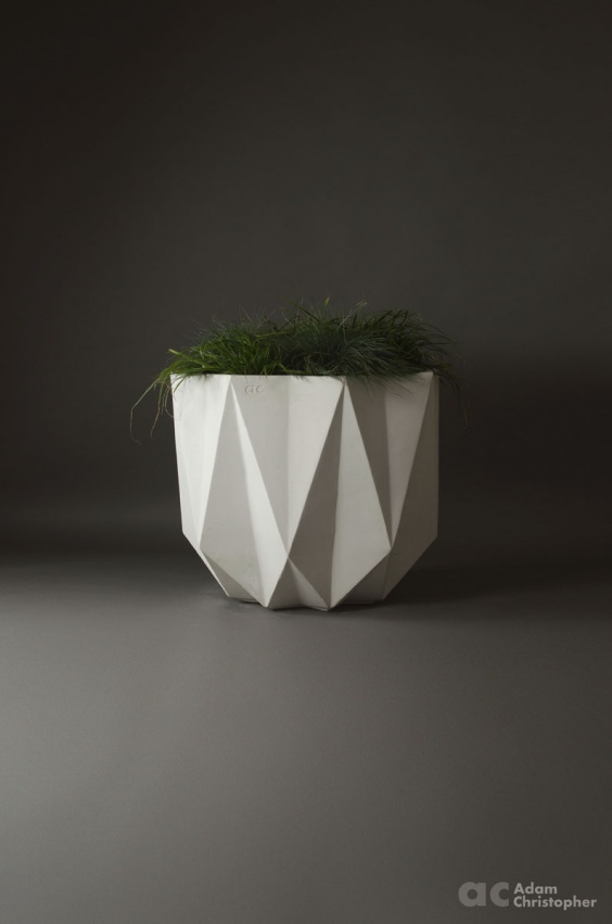 large concrete planter in white