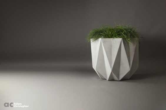 large modern concrete geometric flower pot