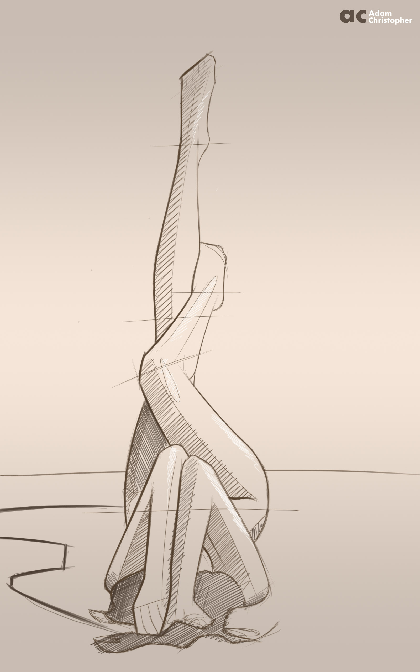 Contemporary sculpture sketch practice