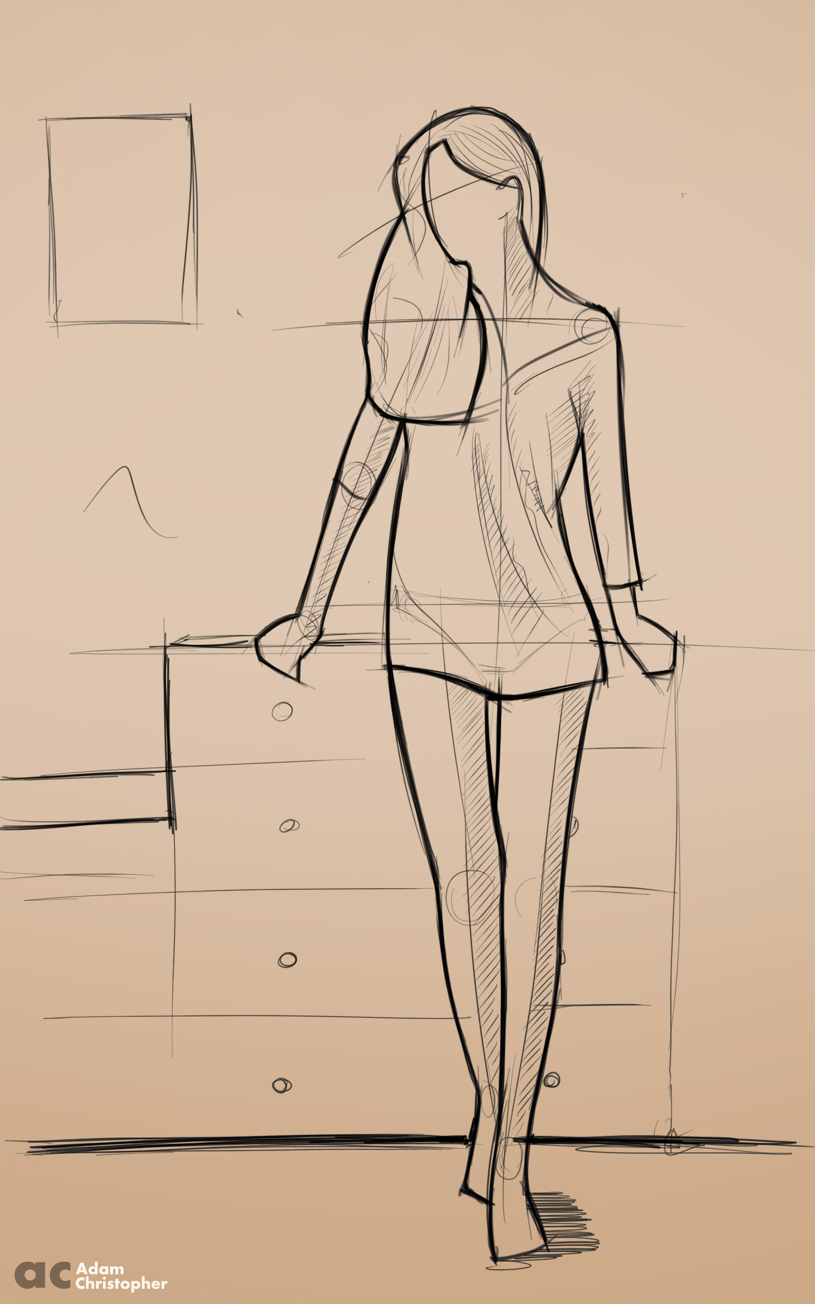 slim women sketch