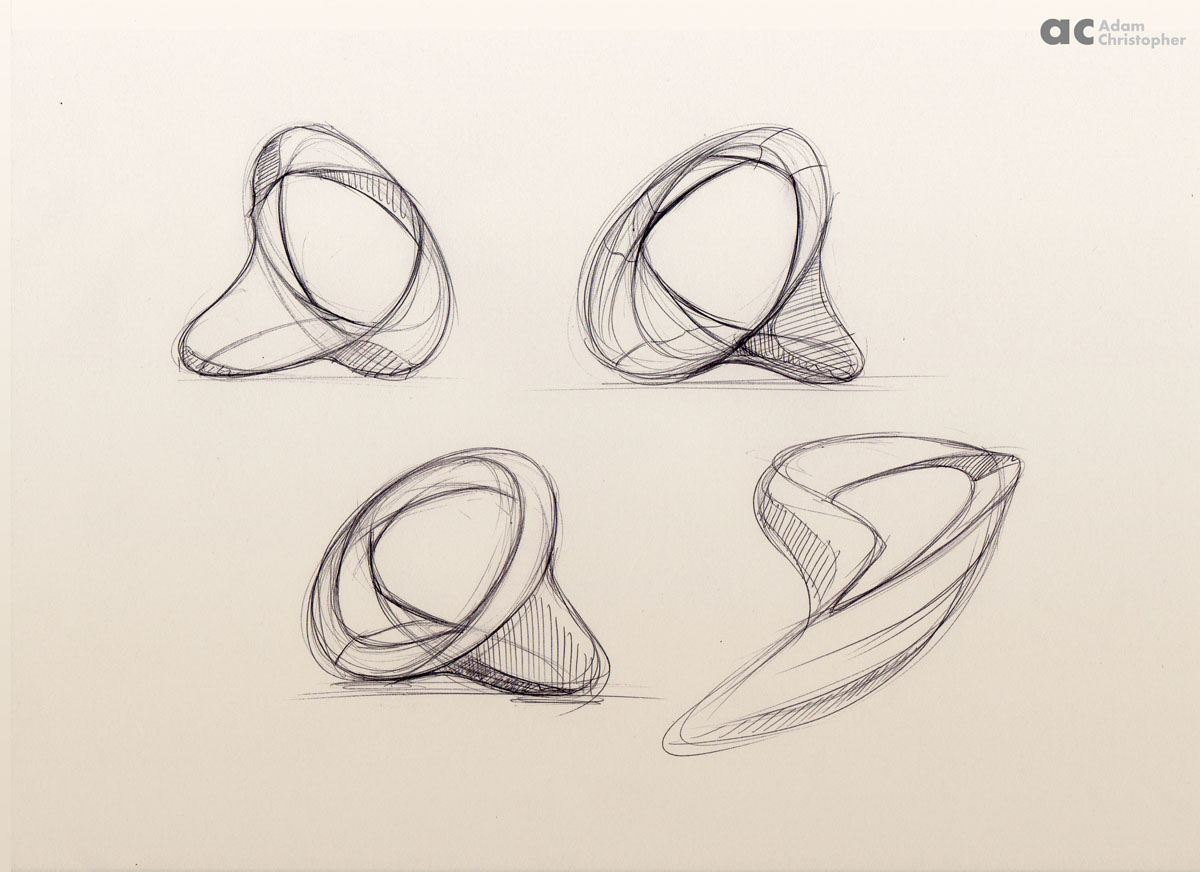 Unity ring contemporary sculpture sketch 7 small