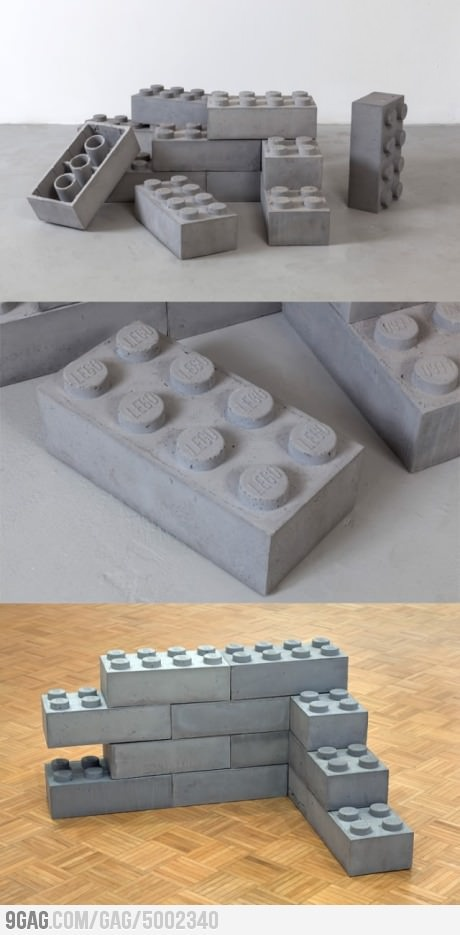 concrete LEGO bricks