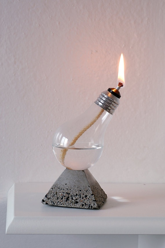cool concrete oil lamp