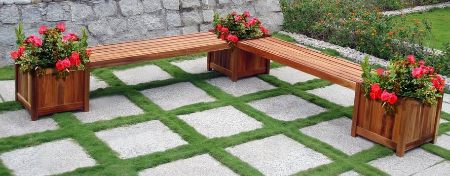 Bench and planter  wooden combination