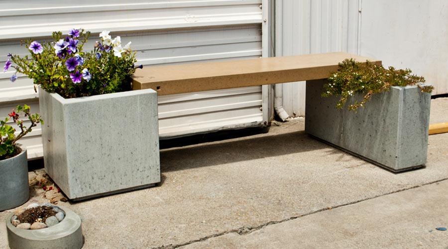 box planters supporting a bench