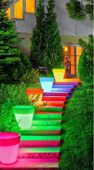 bright light up flower pots on stairs