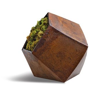 corten steel geometric planter