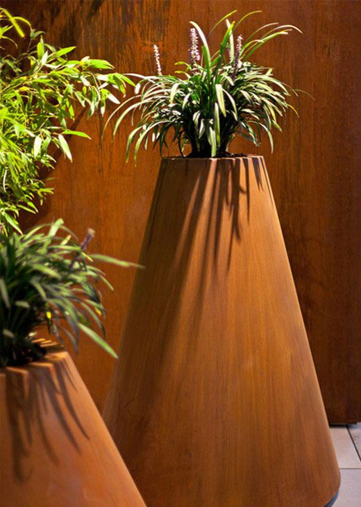 corten steel tapered planter