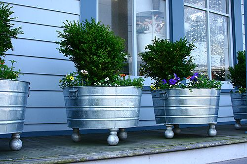 galvanized tub flower pots with legs