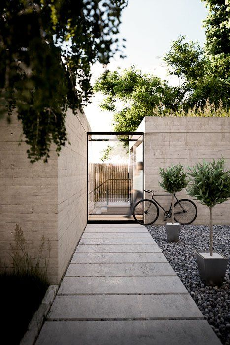 house entrance path with olive trees in pots