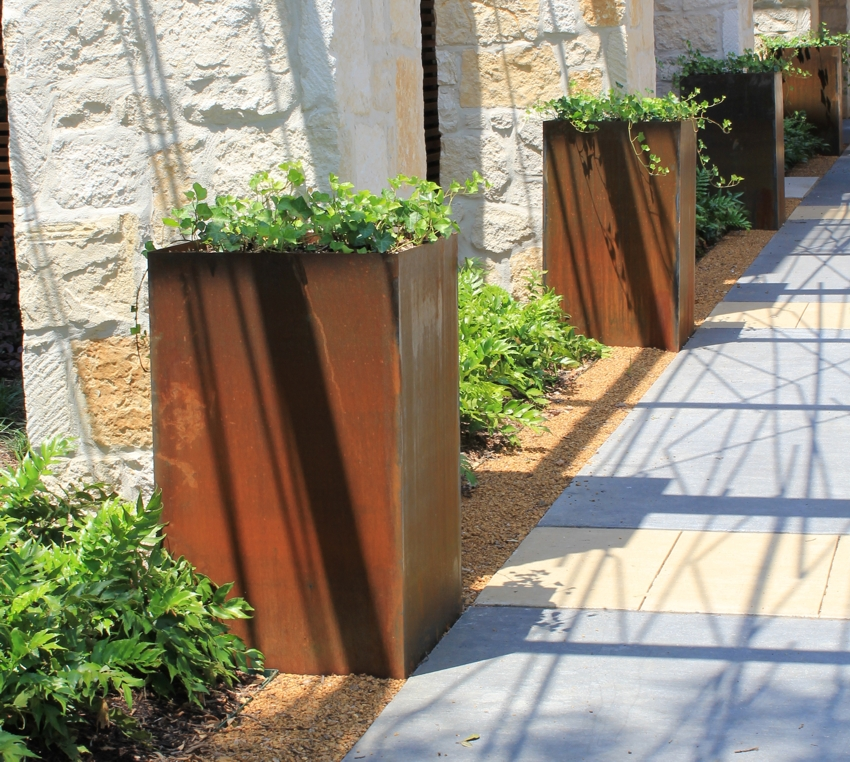 metal rectangular planters