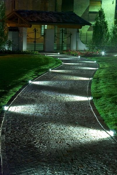 night lit pebble garden path