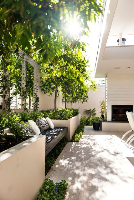 shaded bench and planters