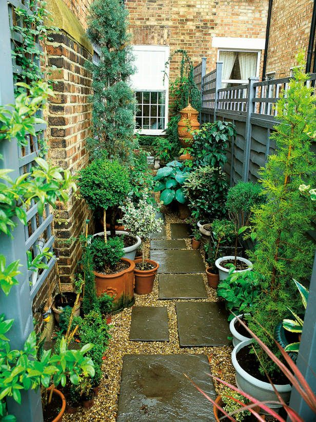 side path with pots