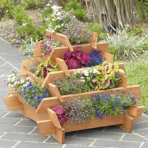 slot together wooden planter