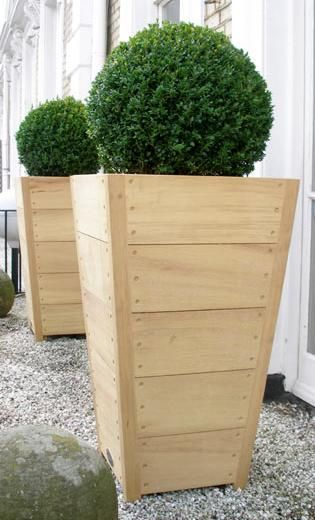 tapered tall wooden planter