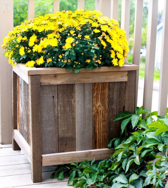 wooden box planter with legs