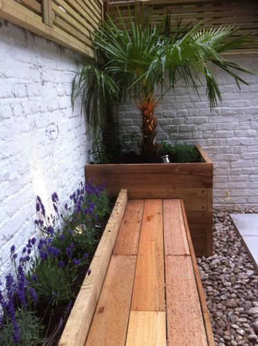 wooden planter and bench