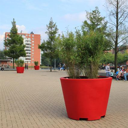 big red flower pot