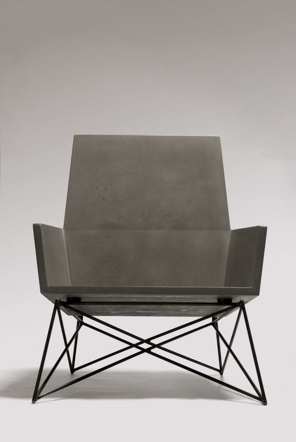 concrete chair with wire frame