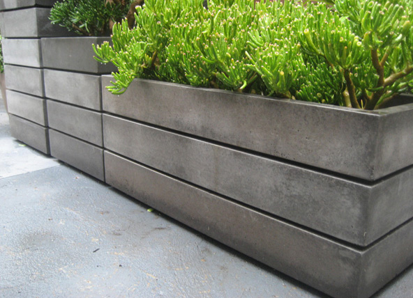 dark concrete planter